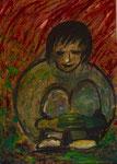Gedanken, Acryl auf Papier, 100x 140 cm, 380€