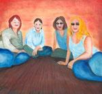Frauenpower, Öl auf Holz, 66x 62cm, 280 €
