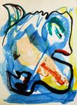 Blauer Vogel, Wachs und Plastik auf Papier, 30x 42 cm, 160 €