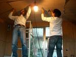 天井仕上げ材の張り込み