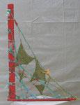"""83x57x2  """"Hamac"""" bois-métal-cordage-laine-peinture-vernis  2012"""