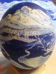 Winterlandschaft dunkelblau ganze Bemalung Acrylfarben Preis: € 90,-- VERKAUFT