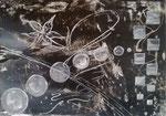 Schwarze Lilie Encaustickarton 30 cm x 21 cm im Glasrahmen € 50,--