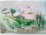 Landschaft mit Vögel A5 Preis € 15,--