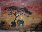 Elefanten 43 cm x 35 cm auf Airbrushkarton in Glasrahmen € 75,--