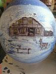 Winterlandschaft mit Reh Teilbemalung Acrylfarben Preis: € 70,-- VERKAUFT