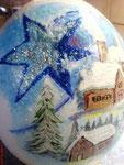 Winterlandschaft mit Stern Teilbemalung Acrylfarben Preis: € 60,-- VERKAUFT