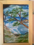 Der Meerblick 20 cm x 30 cm  mit Holzglasrahmen Preis: € 50,--