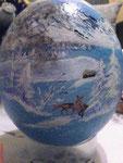 Winterlandschaft hellblau ganze Bemalung Acrylfarben Preis:  € 90,-- VERKAUFT