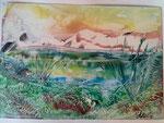 Landschaft mit See 15 cm x 20 cm Preis: € 20,--