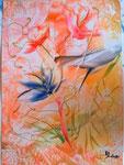 Blumen abstract Neon 20 cm x 30 cm  in Holzglasrahmen € 50,--
