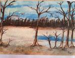 Winterlandschaft 43 cm x 35 cm auf Airbrushkarton in Glasrahmen € 75,--