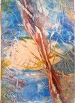 blaue Welt abstract 20 cm x 30 cm mit Glasrahmen € 50,--