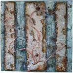 23. Spachtelmasse, Acrylfarbe, Weichfaserplatte und Kupferdraht. 50x50 cm