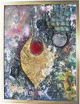 1. Acrylfarbe, Spachtelmasse, Pigmente, 60 x 80 cm