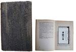 """Buchobjekt mit Musikkassette """"fluxus I"""" Buch, Acryl und Sand   Ein Exemplar u.a. im MOCAD Archiv (USA)   Inhalt Sound Poetry Stücke von John M. Bennett (USA) und Daniel Spicer (UK)"""