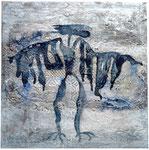 19. Tusche, Spachtelmasse und Tapetenreste, 60 x 60 cm