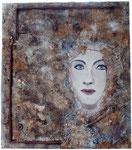 """Nicht mehr erhältlich. Frau noch ohne Träne, Altmetall, Sand, Spachtel, Rost, 50 x 70 cm. Ausgestellt im """"La Locanda"""""""