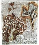 Nicht mehr erhältlich. Stein, Gips, Seidenpapier, Acryl, Rost, Kaffeesatz, Spachtelmasse 60 x 70 cm