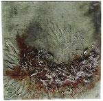 Acryl, Metallspäne, Plastikspäne und Rost, 40 x 40 cm