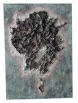 Videoband, Spachtel, Acrylfarbe, 50 x 70 cm