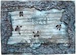 8. Sand, Uniflott, Tusche und Kohle, 50x70 cm