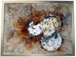 Alufolie, Rost, Sand und Acrylfarbe, 80 x 60 cm