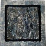 """19. Pappe, Acrylfarbe und Sand, 80x80 cm. Ausgestellt im """"La Locanda"""""""