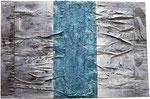 "20. Acrylfarbe, Pappe, Spachtelmasse, 90x60 cm. Ausgestellt im ""La Locanda"""