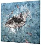 Spachtelmasse, Bindfaden, Acrylfarbe 60 x 60 cm