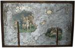 """21. Acrylfarbe, Stein, Schaniere, Watte, Jute, was halt so übrig war. 127x81 cm. Ausgestellt im """"La Locanda"""""""
