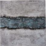 14. Spachtelmasse, Tusche und Acrylfarbe, 60x60 cm