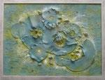 Acrylfarbe, Schraube, Gips, Vinyl, Splitt, 80x60 cm