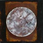 Lp auf MDF-Platte, Sand, Acryl, Rost, Vinyl, 44,5 x 45 cm
