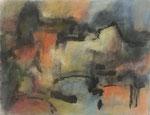 Stadtsiluette mit Brücke,     Gouache/Pastell/Tusche,     31 x 40,5 cm,     2008