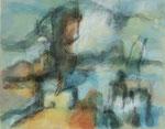 Morgennebel in Tregastel,     Gouache/Pastell,     50,5 x 67 cm,     1992