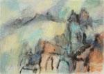 Bergdorf im Morgenlicht,     Gouache/Pastell,     54,5 x 77 cm,     2013
