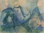 Gipfel im Nebel,     Gouache,     37,8 x 50 cm,     2014