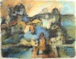 Alter Ort am Fluss,     Gouache/Pastell,     50 x 64,5 cm,     2013