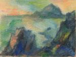 Kanarische Klippen mit Insel,     Gouache/Pastell,     58 x 76 cm,     2014
