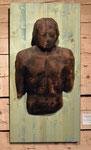 männliche Wandskulptur, Zirbe verbrannt auf Fichtenplatte 80x50 cm