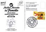 """Cartolina Anafi """"40° mostra mercato reggio emilia 2008"""" 2° edizione su cartoncino spesso con annullo """"100 anni del corriere dei piccoli"""""""