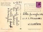 """Cartolina """"7639"""" Milano Marittima retro con Tecnograf via Sciuti 128 - Palermo"""