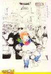 Cartolina Nuvole su strada disegno di Cinzia Ghigliani