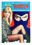Cartolina film Diabolik allegata all'albo n° 4 anno VII con errore di stampa