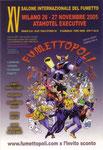 """Cartolina invito """"XV Fumettopoli"""" 26 e 27 Novembre 2005 2° versione"""