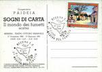 """Cartolina """"Sogni di carta"""" retro con annullo 06/01/1991"""