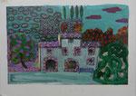 Postkarte teilweise übermalt - 12x16cm Mischtechnik