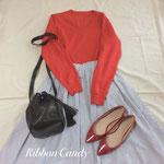 ロング丈タックギャザースカート、初心者の方にオススメ、オリジナル型紙レッスン