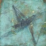 Werkreihe Traumwelten - Mischtechnik mit Kupferpatina auf Holzkörper - Titel: Boot mit Häusern - 10 x 10 x 3cm - 2017